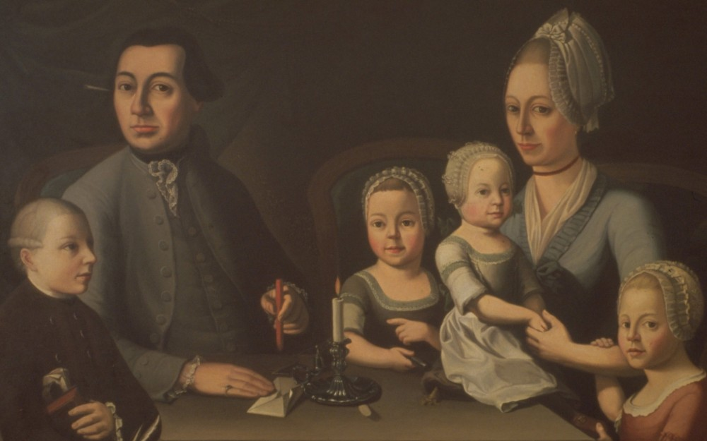 Painting of Johann Rudolf Geigy-Gemuseus with family